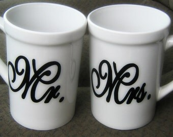 Mr and Mrs  His and Hers Couples coffee cups. Wedding gift/shower gift/housewarming