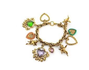 1940s Heart Charm Bracelet / b1