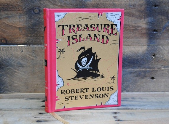 Hollow Book Safe - Treasure Island - Red and Gold Leather Book Safe