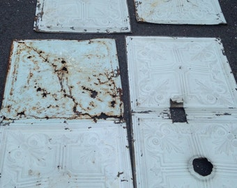 """salvaged 24"""" by 48"""" antique ceiling tile, set of 4 very damaged, rusted, chippy mid 1800's church ceiling tin; old fashioned pale blue white"""