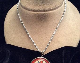 Vintage Silvertone Enameled Pennsylvania Dutch Pendant Necklace