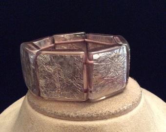 Vintage Wide Chunky Clear-Silvertone Beaded Bracelet
