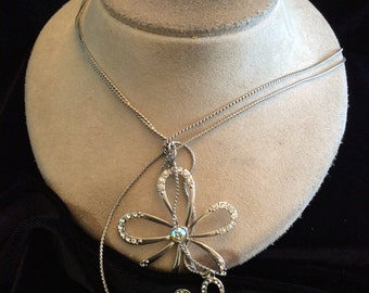Vintage Signed Guess Double Stranded Triple Rhinestone Floral Necklace