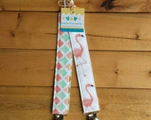 NEW: Infant Pacifier Clip- Pink Flamingos and Pastel Diamonds  (set of 2)