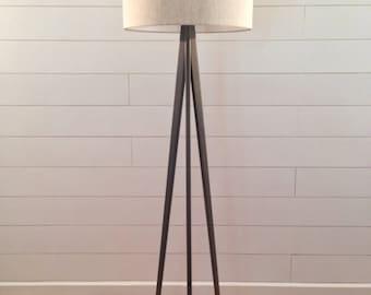 Floor Lamp - Tripod - Weathered Gray Finish