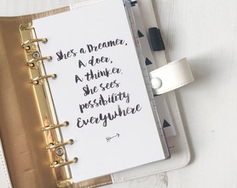 She's a Dreamer {PERSONAL} Planner Dashboard