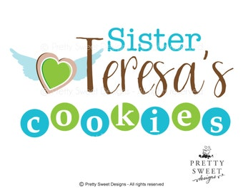 Cookies Logo, Cookie Shop Logos, Bakery Logo Design, Cookie with wings Illustration And Graphic Design For Your Business