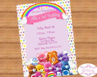 CARE BEARS Inspired, Invitation, Printed or Digital, 5x7