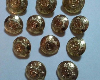 12 Vintage Gold Metal Military Buttons With Embossed Center Crest and Stars 3 Large and 9 Small