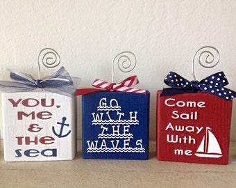 Photo Holder- Picture Holder- Wire Photo Holder- Photo Blocks- Photo Display Blocks- Nautical Photo Blocks- Nautical Decor- Sailing Decor