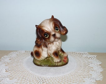 Small Spaniel Type Dog Ornament, Brown and Cream, Kitsch, Doggy, Figurine, Ornament, niknak, hand painted