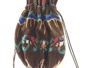 1920s Heavily Beaded Drawstring Silk Lined Purse