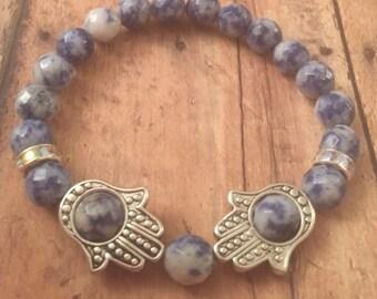 "Hamsa hand bracelet with genuine Sodalite stones and AB crystal roundelles, beaded bracelet, Hamsa bracelets, gifts for her, 7.5"" bracelet"