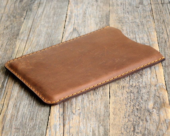 iPad Pro / Air 2 Case. Brown Waxed Genuine Leather Sleeve Cover. Raw Style Handmade Pouch.