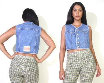 Vintage 90s Bongo Blue Jean Denim Cropped Vest Crop Top