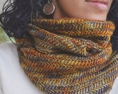 Astrid Cowl in Glitter- Ochre, orange, brown, grey- herringbone , wool, cowl, scarf, infinity