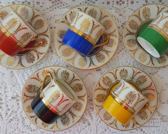 SALE Vintage Arnart 5th Ave Hand Painted 2059 Demitasse Cups & Saucer Plates Porcelain Green Red Blue Black Yellow