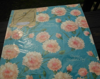 Vintage gift wrap/wrapping paper/Mother's Day/pink flowers/blue paper/Carnation flowers