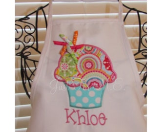 Personalized Children's  Apron-Great for Art or Baking- Birthday Apron-Cupcake Applique FREE MONOGRAM
