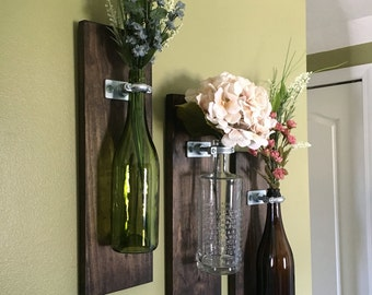 Wine Bottle Wall Vase – Perfect for Home Decor, Fresh Flowers!!