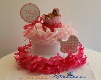 It's a Girl Baby Shower Cake Topper Table Centerpiece Decoration