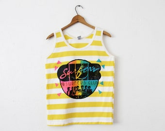 MEDIUM Vintage 1980s Surfers Club Made in USA Striped Neon Graphic Tank Top