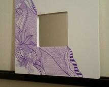 White mirror flowers Zentagle mandalas purple mirror , miroir purple  zentangle design