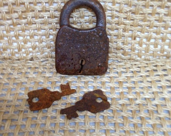 Primitive Rusty SECURE Padlock with Matching Keys
