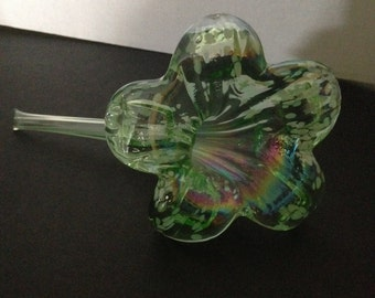 Green Glass Handblown Flower with White Speckles