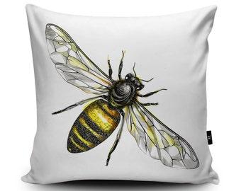 Honeybee Cushion, Honeybee Pillow, Honey Bee Cushion, Worker Bee Cushion, Bee Pillow, Insect Cushion, Wildlife Vegan Cushion