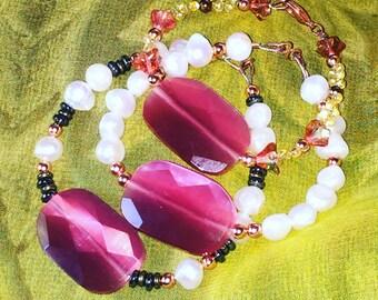 Hematite Copper Pearl Bracelet~~SomethingXquisite Jewelry~~Pearl Bracelets~~Handmade Bracelets~~Bracelet Sets~~Girls Jewelry~~Gift Sets