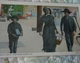 Vintage Original Amish Family Lancaster County Pa Postcard Free Shipping
