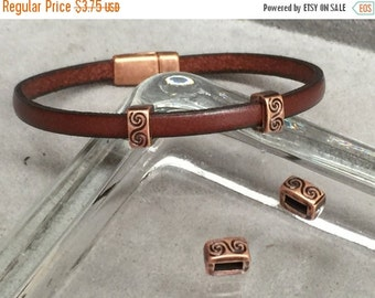 On Sale NOW 25%OFF Beautiful Spiral Embossed Bar Sliders For 5mm Flat Leather Cord Antique Copper Z1897 Qty 4