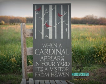 When a Cardinal Appears, In your Yard It's A, Vistor from Heaven, Memorial Gift, In memory of sympathy gift