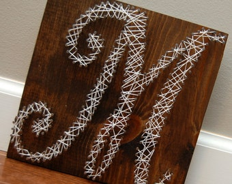 Wood and Nails, personalized letter M for name, customized for any letters, cursive letter art, string art