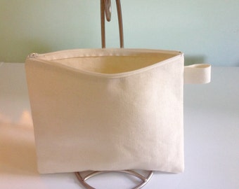 Large Plain canvas case, DIY fabric bag, sturdy purse,