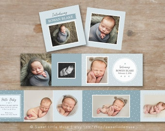 Accordion Mini Template - 3x3 mini accordion template - baby boy accordion mini