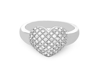 14k solid white gold diamond heart ring. diamond promise ring. heart ring. fancy ring.