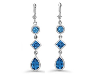 sterling silver genuine blue topaz dangle earrings. fancy earring, color stone earrings.