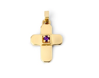 14K Yellow Gold Gemstone Cross Pendant, Cross Pendant, Cross Jewelry, Gemstone Pendant, Religious Jewelry, Gold Pendant, Gold Cross, Cross
