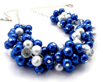 Cobalt Blue Pearl Bridal Necklace, Bridal Pearl Jewelry, Beaded Necklace, Chunky Pearl Necklace, Wedding Pearl Jewelry,