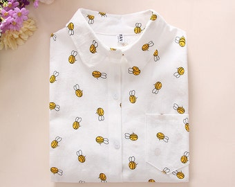 Honeybee White Buttondown