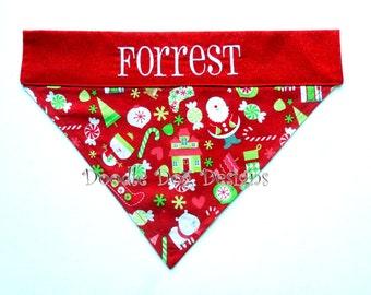 """Personalized Dog Bandana/ Holiday Dog Bandana/ Christmas Dog Bandana/ Over the Collar Dog Bandana/ """"Puppy Christmas"""""""
