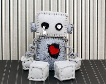 Zombie Robot Plush with Stitches and a Red Heart