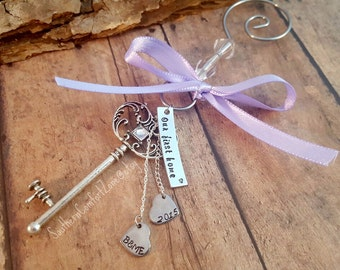 Our First Home Ornament - Christmas Decoration - Key - Personalized - Couple - Mr and Mrs - New House - First Apartment - Hand Stamped