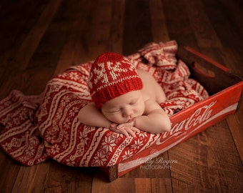 NEWBORN knit snowflake hat beanie
