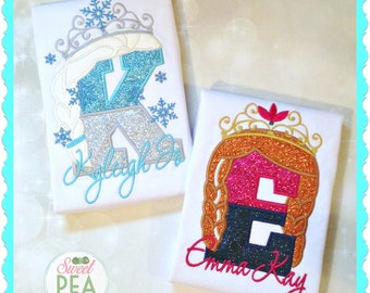 Ice Queen and Snow Princess Big/Little Sisters Shirts - FROZEN Sibling - Elsa and Anna Applique Shirts - Frozen Birthday Siblings Shirts
