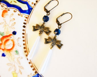 Blue Glass with Vintage White Pendant and Oxidized Brass Bow Dangle Earrings - Handmade Vintage Wedding Style
