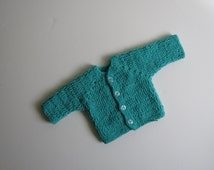 Very Soft Newborn Baby cardigan, Crochet Baby Boys / Girls Clothes, 0 to 3 Months, Newborn baby clothes, Sweaters,  dark turquoise