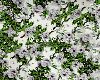 Floral Printed Silk Fabric - Silk Crepe de Chine - Silk CDC Fabric with Bold Floral Print - SF9